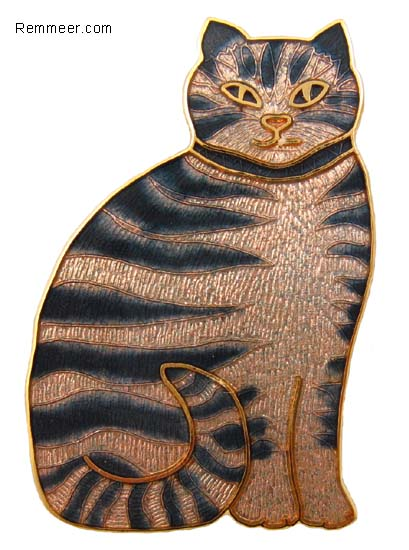 Gray Tabby Cat Brooch
