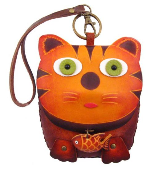 Cat Leather Wristlet