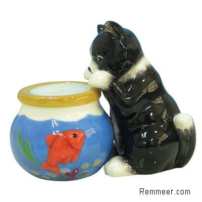 Cat Fish Bowl Shaker Set