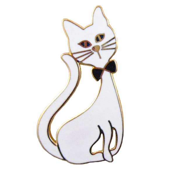 White Bow Tie Cat Pin